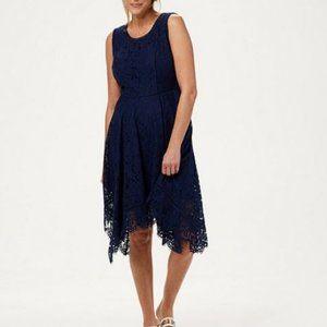 Isaac Mizrahi Handkerchief Hem Lace Midi Dress